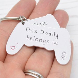 Stamped With Love - Daddy Belongs to Game Controller Keyring