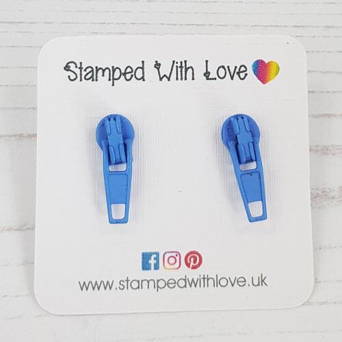 Stamped With Love - Zip Earrings Blue