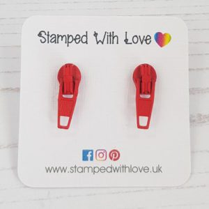Stamped With Love - Zip Earrings Red