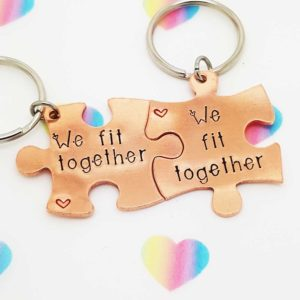 Stamped With Love - We Fit Together Jigsaw Keyrings Copper