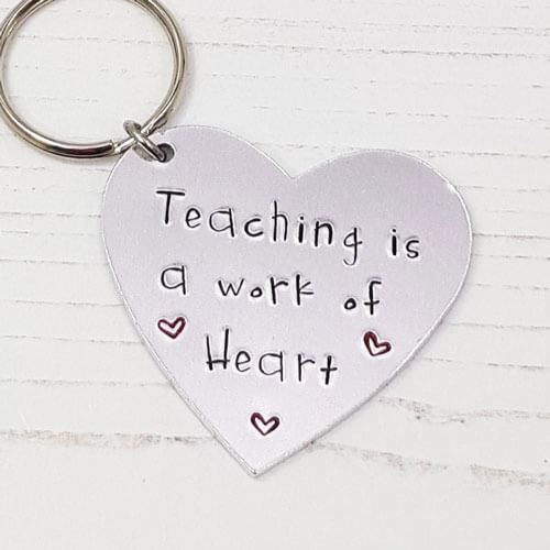 Stamped With Love - Teaching is a Work of Heart Keyring