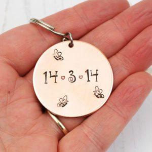 Stamped With Love - Copper Date Disc keyring