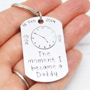 Stamped With Love - Moment I became a Daddy Dog Tag Keyring