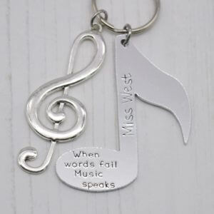 Stamped With Love - Personalised Musical Note Keyring