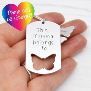 Stamped With Love - Momma belongs to Butterfly Keyring