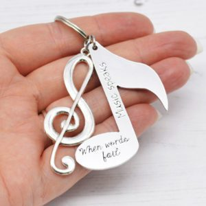 Stamped With Love - When words fail Music speaks Keyring