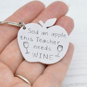 Stamped With Love - This Teacher needs Wine Keyring